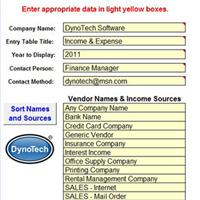 Profit & Loss Report Data Entry Page screen shot